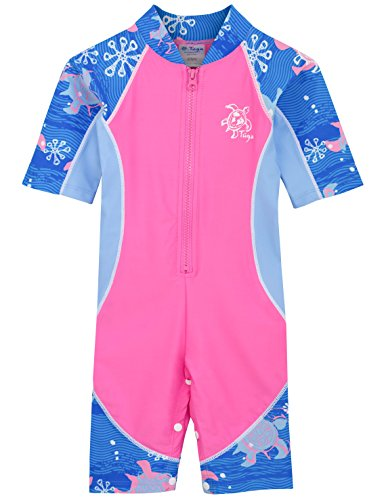 Tuga Girls Low Tide S/S Swimsuit (UPF 50+), Pink Wave, 6-12 mos