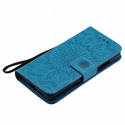 LEMORRY Microsoft Lumia 550 Custodia Pelle Cuoio Flip Portafoglio Borsa Sottile Bumper Protettivo Magnetico Morbido Silicone TPU Cover Custodia per Microsoft Lumia 550, Fiorire Blu