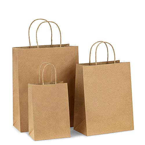 BagDream Kraft Paper Bags 5x3x8& 8x4.25x10& 10x5x13 25 Pcs Each, Gift Bags, Kraft Bags,Shopping Bags with Handles, Paper Shopping Bags, Craft Bags, Merchandise Bags, 100% Recyclable Paper ()