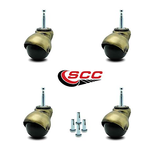 - Service Caster Windsor Antique Brass Hooded 2 Inch Swivel Ball Casters with 5/16 Grip Neck Stem -300 lbs. Total Capacity - Sockets Included - Set of 4