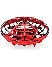 Flying ball Toys Hand Controlled Suspension Helicopter RC drone with 360 Rotating and LED Light Infrared Induction Flying Toy for Kids Boys and Girls Holiday Birthday Gifts Red