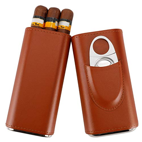 Fortune Nexus Top Quality 3- Finger Black Leather Cigar Case, Cedar Wood Lined Cigar Humidor with Silver Stainless Steel Cutter (Brown)