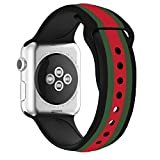 Daze Colors Silicone Band for Apple Watch Replacement Bands for iWatch (Black strips, 38mm)