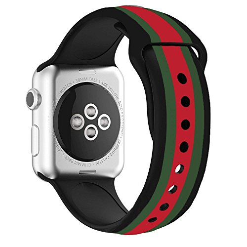 Daze Colors Silicone Band for Apple Watch Replacement Bands for iWatch (Black strips, 38mm) by DAZE