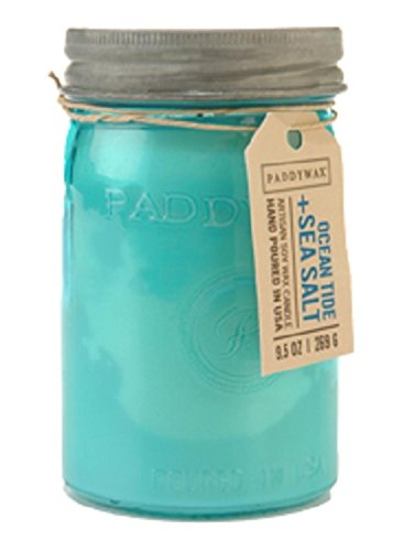 (Paddywax Candles Relish Collection Soy Wax Blend Candle in Glass Mason Jar, Medium- 9.5 Ounce, Ocean Tide + Sea Salt )