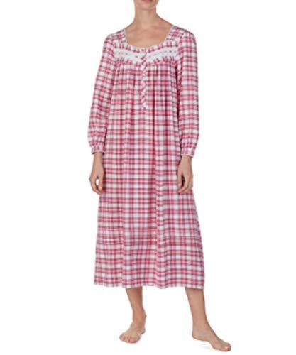 (Eileen West Yarn Dye Pink Plaid Print Flannel Ballet Nightgown, Large)