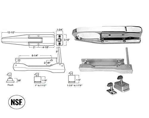 DENT D60 Series Walk-In Safety Aluminum Latch Complete Set (Select Offset from Flush to 1-7/8'') (Offset - 1'' to 1-1/2'')