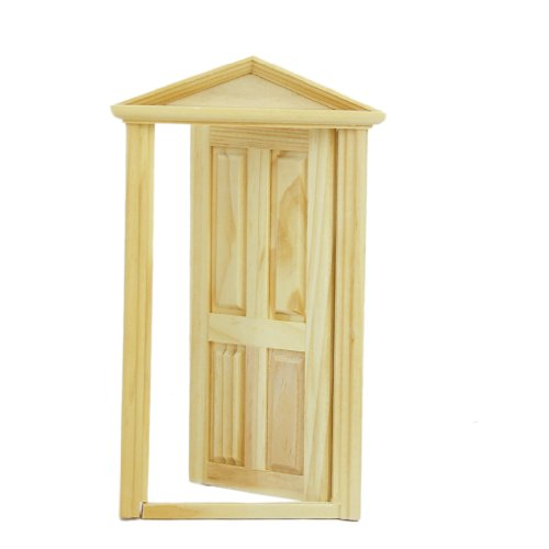 Exterior Solid Wood Door With Steepletop 1/12 Dollhouse Miniature by Generic
