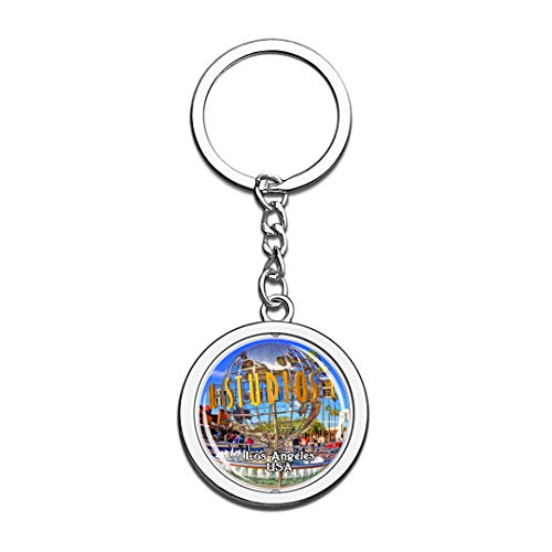 USA United States Keychain Universal Studios Hollywood Los Angeles Key Chain 3D Crystal Spinning Round Stainless Steel Keychains Travel City Souvenirs Key Chain Ring]()