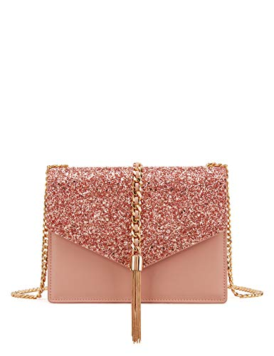 LA'FESTIN Fringed Shoulder Bags for Women Elegant Leather Tassel Side Purse with Long Chain Strap (Shiny Pink)