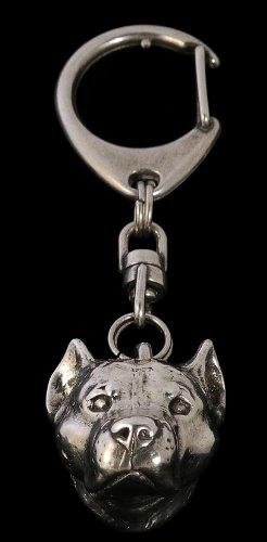 American Staffordshire Terrier (3d Medalion), Amstaff, Silver Hallmark 925, Silver Dog Keyring, Keychain, Limited Edition, Artdog by Art Dog Ltd.