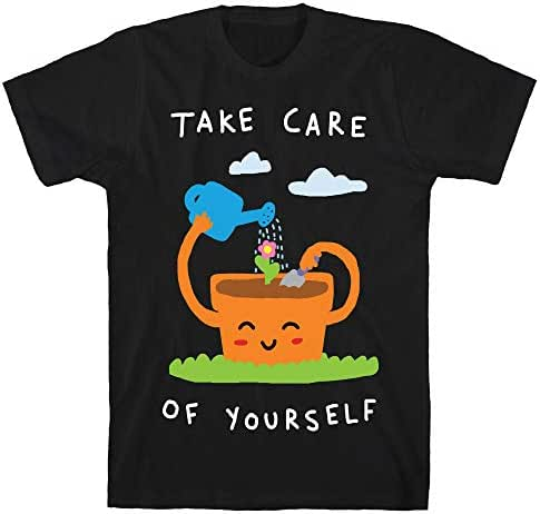 LookHUMAN Take Care of Yourself Black Men's Cotton Tee