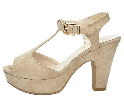 Pumps Strap MICHELLE Ankle Evening T Heels Casual Platform PAIRS Beige Women's New High Open Wedding Sandals DREAM Toe 4SZq5