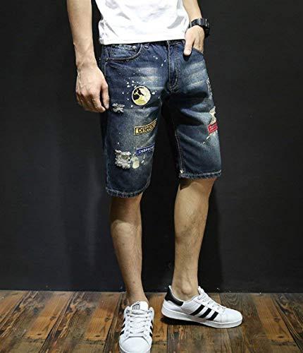 Strappati Buco Distintivo Pantaloni Stampato Blau Bicchierini Jeans Ricamo Especial Denim Ginocchio Simili In Pantaloncini Uomo Estilo Lunghezza XSpqxz
