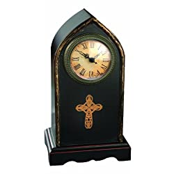 Manual Tall Cross Time Well Spent Table Top Analog Clock, 6.25 X 11.25-Inch