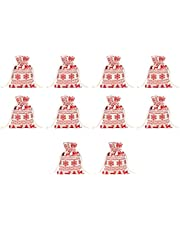 Toyvian 10pcs Christmas Candy Bag Drawstring Burlap Gift Bags Reusable Treat Bags Pouch Coffee Bean Bag for Kids Children Red Snow Elk