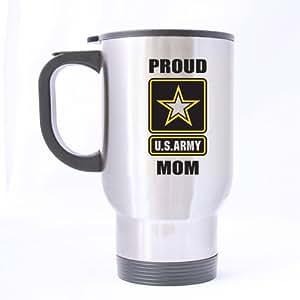 Taza de regalo de día de la madre–Taza de militares, orgullosa mamá del ejército de Estados Unidos–(astilla) taza tazas de viaje de acero inoxidable–14oz tamaños