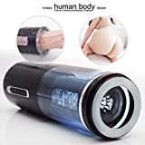 Aircraft Cup Male Masturbator for Man Bluetooth Interact with Phone Automatic Thrusting Postion Cup, Vibrator Real Vagina Pussy Adult Sex Toys For Men,Black Tshirt