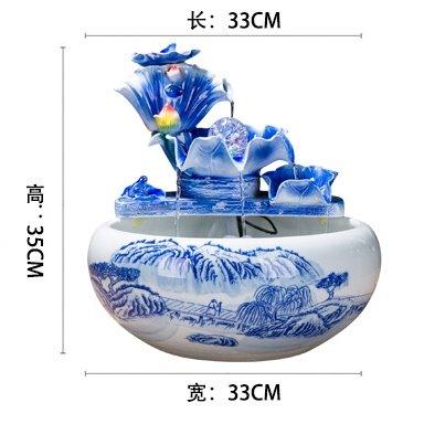 Fuente de agua de cerámica china humidificador adornos regalos empresariales inauguracion Salon Feng Shui suerte acuario de escritorio,B: Amazon.es: Hogar