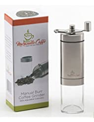 Maranello Caffé Manual Coffee Grinder, Conical Ceramic Burr Mill, Adjustable for Precision Grinding, Stainless Steel, Perfect for Home, Travel or Camping, Portable and Compact for