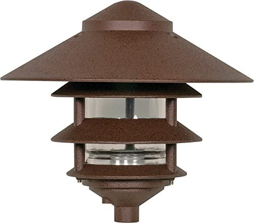 Nuvo Lighting SF76 637 Outdoor Pathway and Garden 3-Louver Pagoda Light Fixture, Large, 10-Inch Hood, 100 Watts 120 Volts Bronze