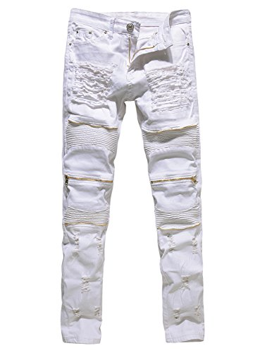 6d6cbc13b907 Men s Distressed Ripped Biker Moto Denim Pants Skinny Fit Zipper Jeans  (W32
