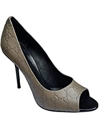 Guccissima High Heel Peep Toe Leather Shoes Pump (10 Taupe)