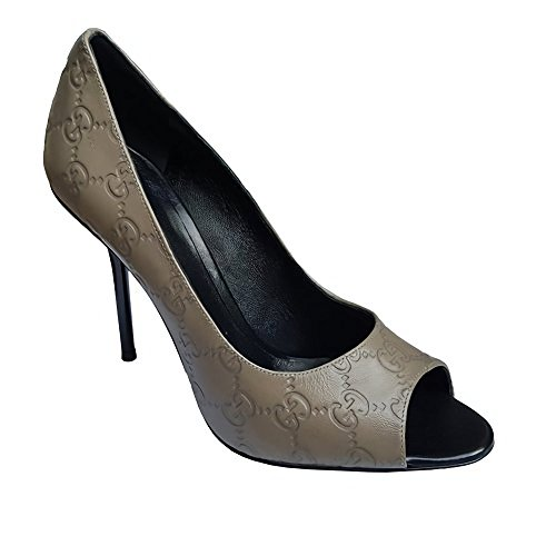 Gucci Sport Shoes (Gucci Guccissima High Heel Peep Toe Leather Shoes Pump (10 Taupe))