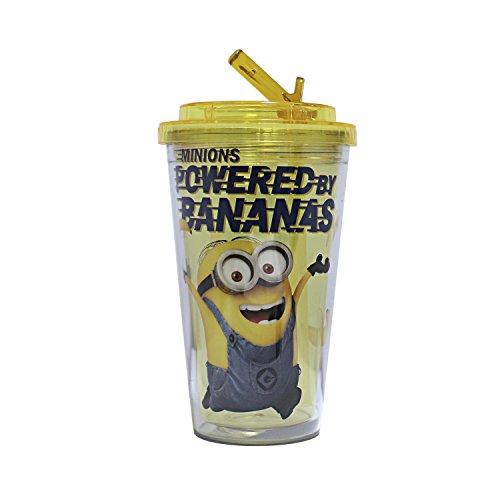 [Silver Buffalo DM3684 Universal Despicable Me Bananas Flip Straw Cold Cup, 16-ounces] (Despicable Me Glasses)