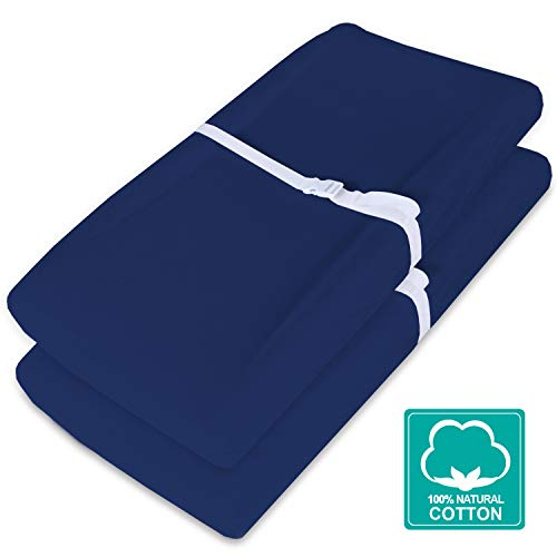 Waterproof Changing Pad Cover/Change Table Cover Sheets(Improved Style), 2 Pack Navy Blue Changing Pad Covers, Ultra Soft Natural Cotton
