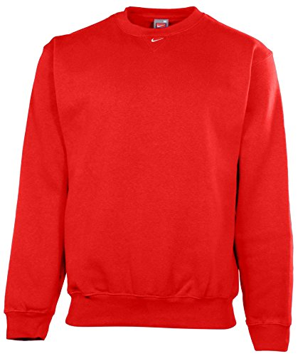 Nike Men's Team Crew Neck Fleece Pullover Sweatshirt-Scarlet-Small (Nike Fleece Embroidered Basketball)
