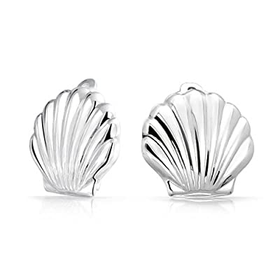 discount Bling Jewelry Sterling Silver Sea Life Shell Clip On Earrings Nickel Clip big discount