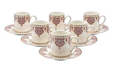 Pattern Demitasse - Porcelain Bone China Espresso Turkish Coffee Demitasse Set of 6 Arabesque Pattern Cups + Saucers (Red)