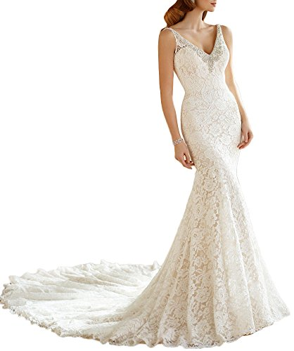 Heartgown Women's Crystals Beaded Edging Mermaid Lace Wedding Dress Chapel Train White US10