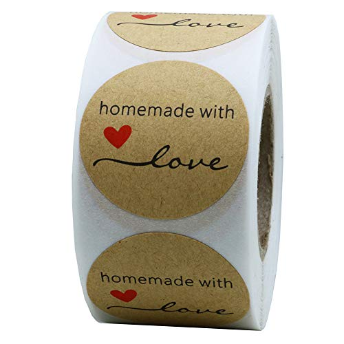 Hybsk Kraft Homemade with Love Stickers 1.5