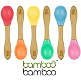 Bamboo Baby Feeding Spoons with Soft Curved Silicone Bowl Tips for Toddlers and Infants Green (Pack of 2)