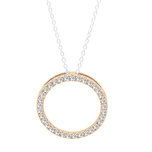 Dazzlingrock Collection 0.33 Carat (ctw) 18K Round Lab Grown White Diamond Ladies Circle Pendant 1/3 CT, Rose Gold (Silver Chain Included)