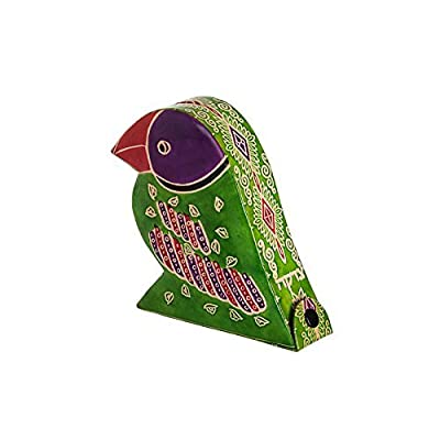 Tzedakah Charity box Handmade of Tooled Leather. The Parrot is beautiful saturated with color and rich design. Size 5.5 inch high. 5.0 inch long and 1.5 inch wide.: Home & Kitchen