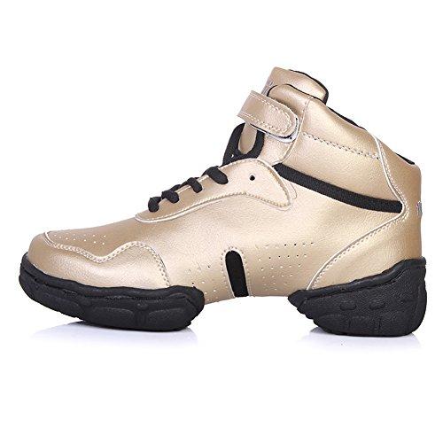 Roymall Hommes Et Femmes Or Cuir Boost Danse Sneaker / Moderne Jazz Ballroom Performance Danse-sneakers Chaussures De Sport, Modèle Wzj-ds, 7.5 B (m) Us