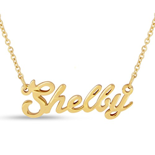 Shelby Nameplate Necklace In Gold Tone