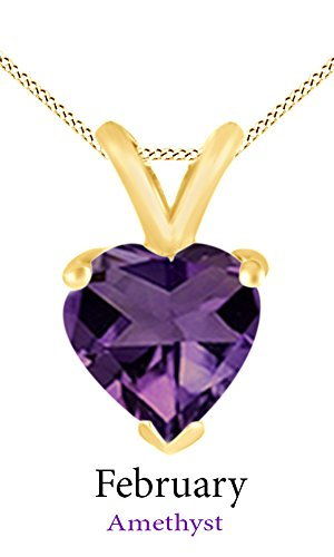 Jewel Zone US AFFY Women's Classic Simulated Amethyst Heart Shape Pendant Necklace in 10k Solid Yellow Gold (1 cttw) (Gold Amethyst Necklace Yellow)