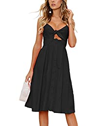 9f45b4d27102 Womens Dresses Summer Tie Front V-Neck Spaghetti Strap Button Down A-Line  Backless