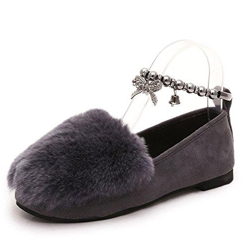 Pelos coreanos otoño zapatos/Dulce moldeado pie metálico anillo un engrosamiento zapatos peludos/Zapatos planos ronda A