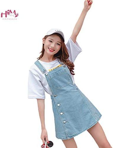 Womens Summer High Waist Jeans Dress Vintage Casual Blue Suspender Denim Short Dresses Adjustable Shoulder Straps Overall Dress Women's Clothing