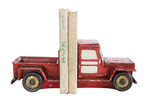 Creative DA7586 Cabin Red Resin Vintage Truck Decorative Bookends (Large Image)