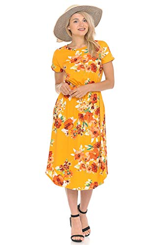 iconic luxe Women's Short Sleeve Flare Midi Dress with Pockets X-Large Floral Mustard Orange ()
