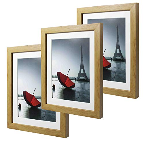 - 8x10 Log Picture Frame Set of 3 Made to Display Pictures 6x8 with Mat or 8x10 Without Mat 3 Pack One Set for Wall & Tabletop (Log)