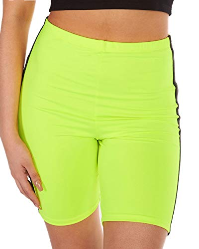 iHeartRaves Do It Neon Yellow Athletic Biker Shorts (Large) (Shorts Spandex Neon)