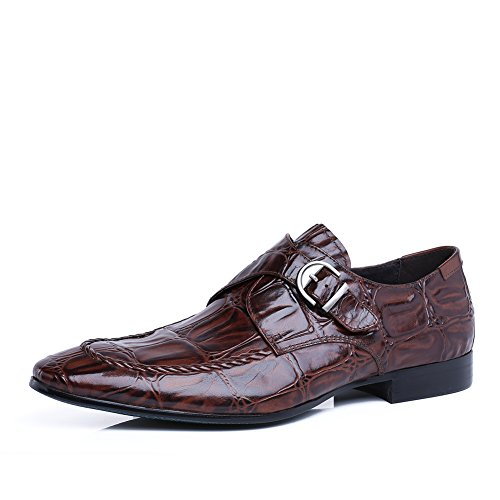 Scarpe Da Uomo Per Il Tempo Libero In Pelle Tendine Dress Autunno Business Wedding Moda Slip On Marrone-nero Marrone