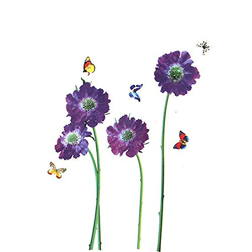 Homefind Wall Stickers Purple Flowers DIY Violet Flowers with Butterflies Nature Scenery Art Murals Vinyl Wall Decals Stickers for Bedroom Living Room Girls Room Nursery Home Decor (18